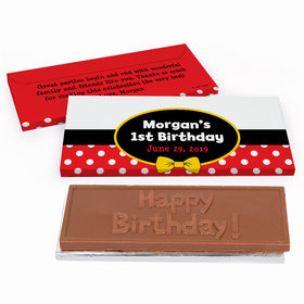 Deluxe Personalized Mickey Mouse First Birthday Chocolate Bar in Gift Box
