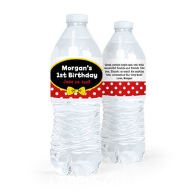 Personalized First Birthday Mickey Mouse Theme Water Bottle Sticker Labels (5 Labels)