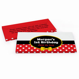 Deluxe Personalized Mickey Mouse First Birthday Hershey's Chocolate Bar in Gift Box