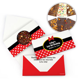Personalized Minnie Themed Birthday Gourmet Infused Belgian Chocolate Bars (3.5oz)