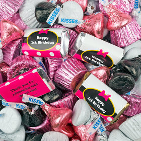 1st Birthday Minnie Themed Hershey's Miniatures, Kisses and Reese's Peanut Butter Cups