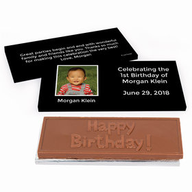 Deluxe Personalized Photo & Message First Birthday Chocolate Bar in Gift Box