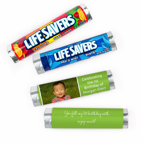 Personalized First Birthday Photo Lifesavers Rolls (20 Rolls)