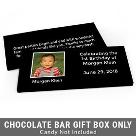 Deluxe Personalized Photo & Message First Birthday Candy Bar Favor Box