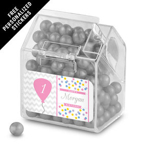 Birthday Personalized Candy Bin Dispenser Chevron Dots Elephant (12 Pack)
