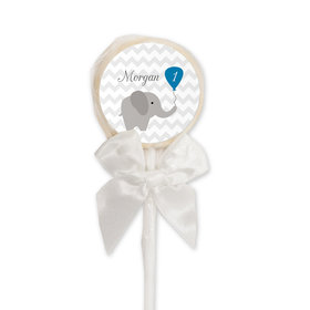Birthday Personalized White Lollipop Chevron Dots Elephant (24 Pack)