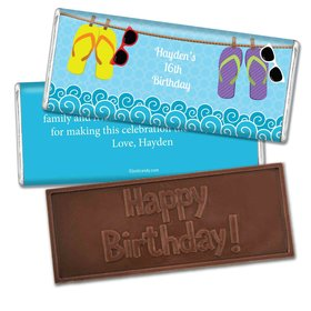 Birthday Personalized Embossed Chocolate Bar Summer Flip Flop Beach