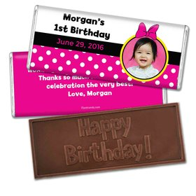 Birthday Personalized Embossed Chocolate Bar Minnie Mouse Photo