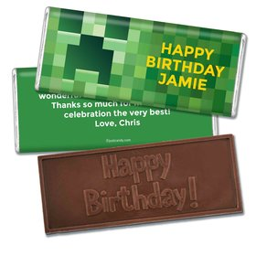 Birthday Personalized Embossed Chocolate Bar Creeper Style Craft