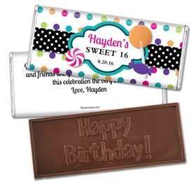Birthday Personalized Embossed Chocolate Bar Sweet 16 Polka Dot Candy Shoppe
