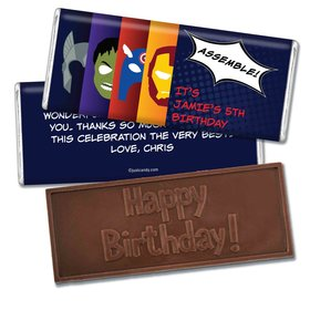 Birthday Personalized Embossed Chocolate Bar Superheroes