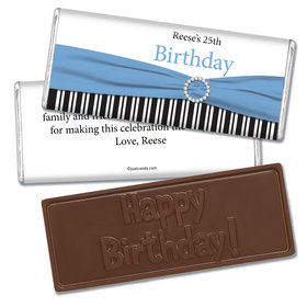 Birthday Personalized Embossed Chocolate Bar Fancy Bow & Stripes