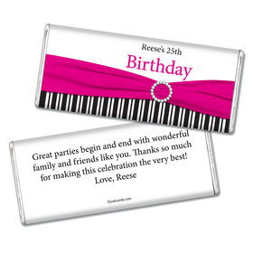 Birthday Personalized Chocolate Bar Fancy Bow & Stripes