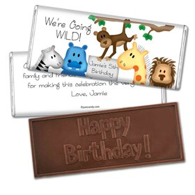 Birthday Personalized Embossed Chocolate Bar Going Wild Jungle Animals
