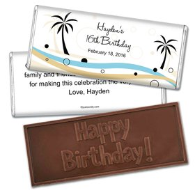 Birthday Personalized Embossed Chocolate Bar Beach Palm Trees