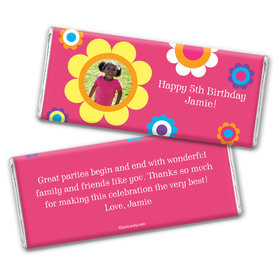 Power Flower Birthday Personalized Candy Bar - Wrapper Only