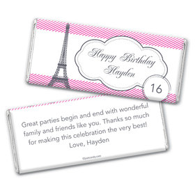 Birthday Girl in Paris Personalized Candy Bar - Wrapper Only