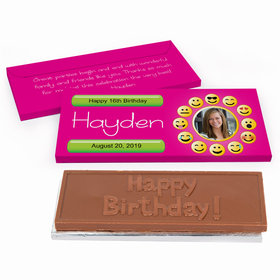 Deluxe Personalized Emoji Photo Youth Birthday Chocolate Bar in Gift Box