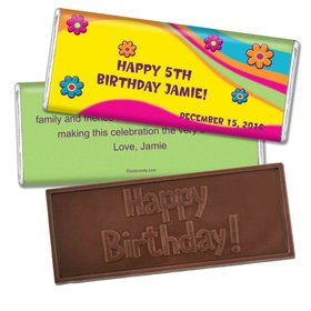 Birthday Personalized Embossed Chocolate Bar Groovy Flower Power
