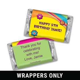 Birthday Personalized HERSHEY'S MINIATURES Wrappers Groovy Flower Power