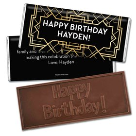 Birthday Personalized Embossed Chocolate Bar Art Deco 1920s Gatsby