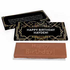 Deluxe Personalized Art Deco Birthday Chocolate Bar in Gift Box
