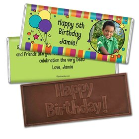 Birthday Personalized Embossed Chocolate Bar Balloons and Stars Photo