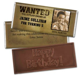 Birthday Personalized Embossed Chocolate Bar Wanted Poster Western Photo