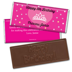 Birthday Personalized Embossed Chocolate Bar Princess Crown