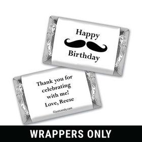 Birthday Personalized HERSHEY'S MINIATURES Wrappers Mustache Party