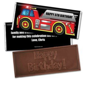 Birthday Personalized Embossed Chocolate Bar Firetruck