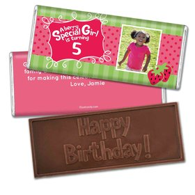 Birthday Personalized Embossed Chocolate Bar Strawberry Shortcake Berry Inspired