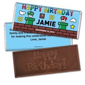 Birthday Personalized Embossed Chocolate Bar Mario's Mushroom Video Game