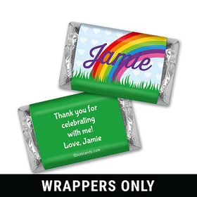 Birthday Personalized HERSHEY'S MINIATURES Wrappers Rainbow, Flowers and Hearts