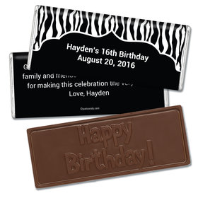 Birthday Personalized Embossed Chocolate Bar Zebra Stripes