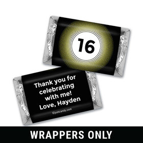 Birthday Personalized HERSHEY'S MINIATURES Wrappers Dotted Sunburst