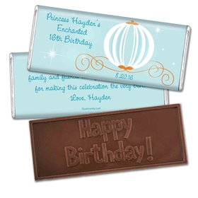 Birthday Personalized Embossed Chocolate Bar Cinderella Theme Princess Pumpkin Carriage