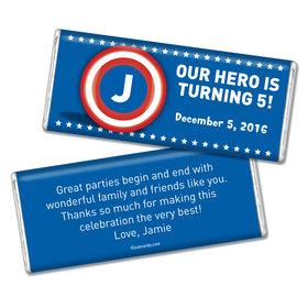 Birthday Personalized Chocolate Bar Captain America Monogram