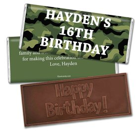 Birthday Personalized Embossed Chocolate Bar Military Army Green Camo
