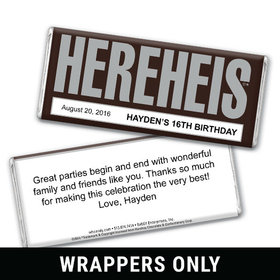Classic HEREHEIS Birthday Personalized Candy Bar - Wrapper Only