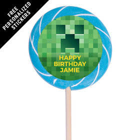 "Birthday Personalized 3"" Swirly Pop Creeper Style Craft (12 Pack)"