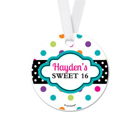 Personalized Sweet 16 Polka Dot Birthday Round Favor Gift Tags (20 Pack)