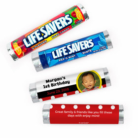 Personalized First Birthday Mickey Mouse Photo Theme Lifesavers Rolls (20 Rolls)