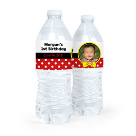 Personalized First Birthday Photo Mickey Mouse Theme Water Bottle Sticker Labels (5 Labels)