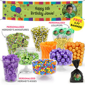 Personalized Kids Birthday Balloons and Stars Themed Deluxe Candy Buffet