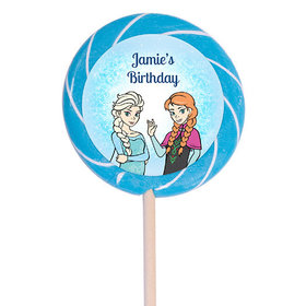 "Birthday Personalized 3"" Light Blue Swirly Pop Disney Style Frozen Theme - 12 Pack"