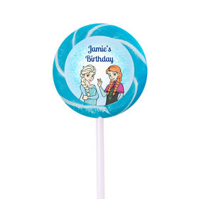 Birthday Personalized Small Black Swirly Pop Disney Style Frozen Theme (24 Pack)