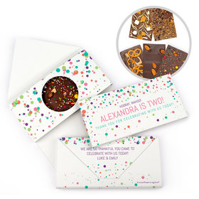 Personalized Colorful Splatter Birthday Gourmet Infused Belgian Chocolate Bars (3.5oz)
