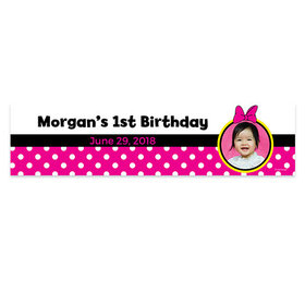 Personalized Minnie Mouse Theme Photo Birthday Banner