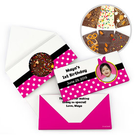 Personalized Minnie Themed Photo Birthday Gourmet Infused Belgian Chocolate Bars (3.5oz)